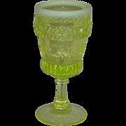 Vaseline Opalescent, Floral Banded, Wine Glass