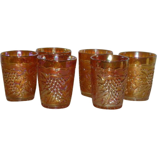 Set of Six, Imperial Grape, Marigold Carnival Glass Tumblers