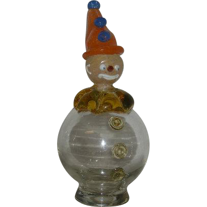 Hand Blown, Italian Art Glass Clown Bottle