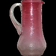 Cranberry, Victorian Art Glass, Hand Blown Tankard Water Pitcher