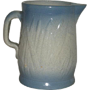 Late 1800's, Blue,  Salt Glazed Pottery, Cattail Pattern Pitcher