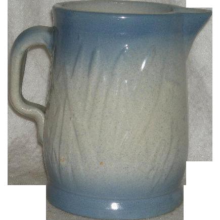 Late 1800's, Blue,  Salt Glazed Pottery, Cattail Pattern Pitcher