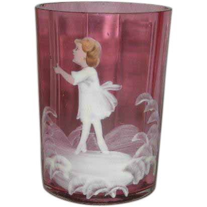 Cranberry, Hand Painted, Mary Gregory Tumbler