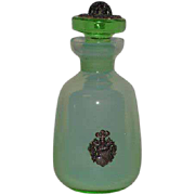 Green Opaline, Bohemian Glass, Perfume Bottle