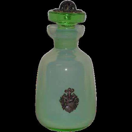 Green Opaline, Bohemian Glass, Perfume Bottle