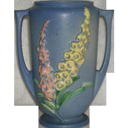"""Blue, Roseville Art Pottery, Foxglove, 45-7"""" Vase"""