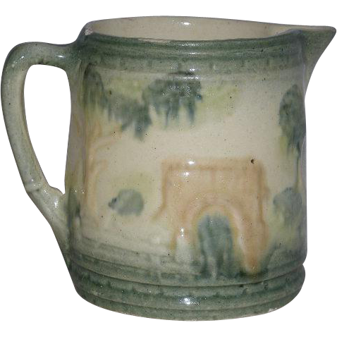 Roseville Art Pottery, Bridge Scene, Milk Pitcher
