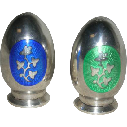 Pair, Denmark, Sterling Silver, Enamel Decorated Shakers