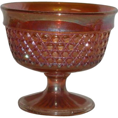 Sowerby, Marigold, Crosshatch Carnival Glass Open Sugar