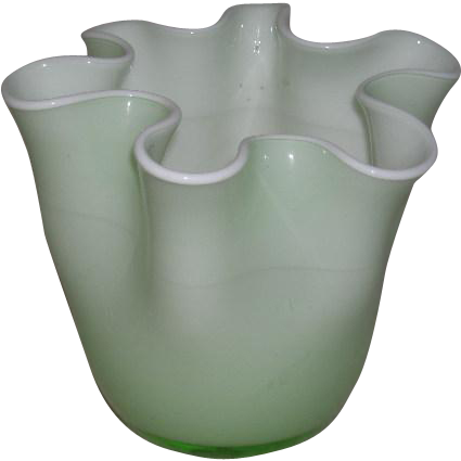 Hand Blown, Green & White Cased Art Glass Squat Vase