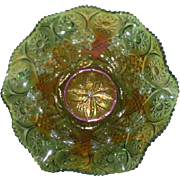 Green, Millersburg, Primrose Carnival Glass Bowl