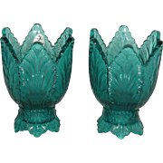 Pair, Fenton, Teal/Blue, Leaf Pattern Candle Sticks