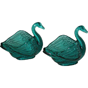 Pair, Fenton, Teal Blue, Swan Salts