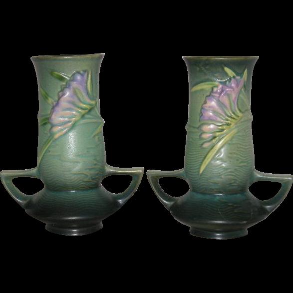 """Pair, Green, Roseville Art Pottery, 119-7"""" Freesia Vases"""