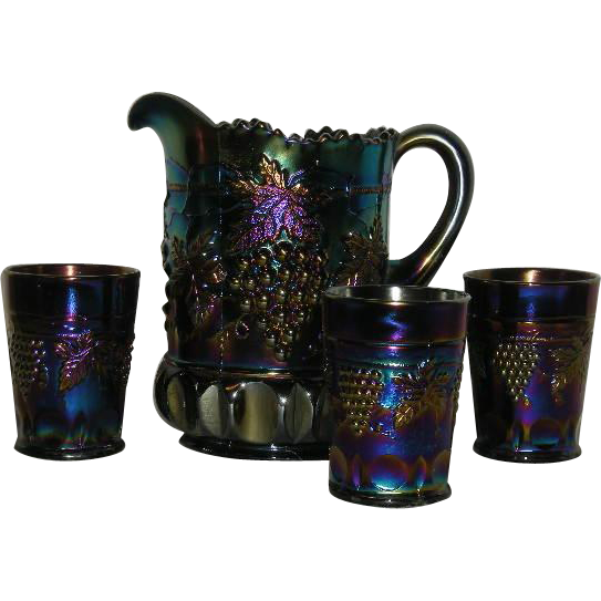 Northwood, Electric Amethyst, 4 Pc., Grape and Cable w/Thumbprint Water Set