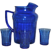 Cobalt Blue, Hazel Atlas, Mid Century 4 Pc. Water Set