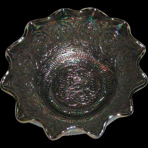 1970's, Fenton, Persian Medallion, Amethyst, Carnival Glass Bowl