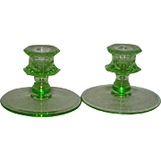 Pair, Green Uranium Glass, Depression Era Candle Holders