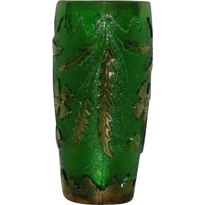 U.S. Glass Co., Green  W/Gold Trim, Delaware Vase