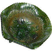 Imperial, Large, Green, Lustre Rose, Carnival Glass Fruit Bowl