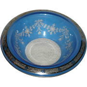 Hawkes, Blue Flashed, Silver Overlay W/Cut to Clear Floral Decoration, Gravic Bowl