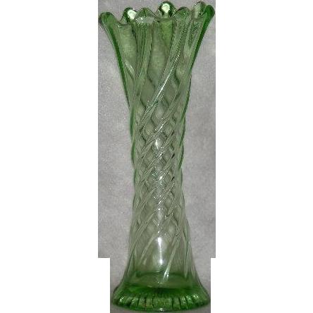 Dugan, Wide Panel/Twisted Rib, Green Uranium Glass Mid-Size Vase
