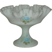 Fenton, Hand Painted, Satin Blue Compote