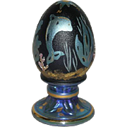 Fenton, Cobalt Blue, Hand Painted, Satin & Iridescent Egg