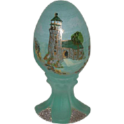 Fenton, Satin, Aqua Blue, Hand Painted Lighthouse Scene Egg