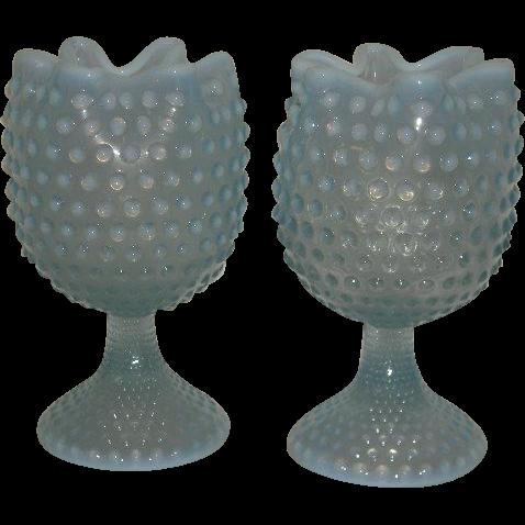 Pair, Blue Opalescent, Hobnail, Stemmed Vases