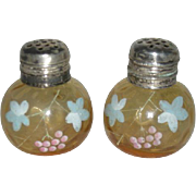 Pair, Amber, Enamel Decorated, Silver Topped, Salt and Pepper Shakers