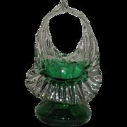 Small, Green, Jack-N-Pulpit, Art Glass Basket