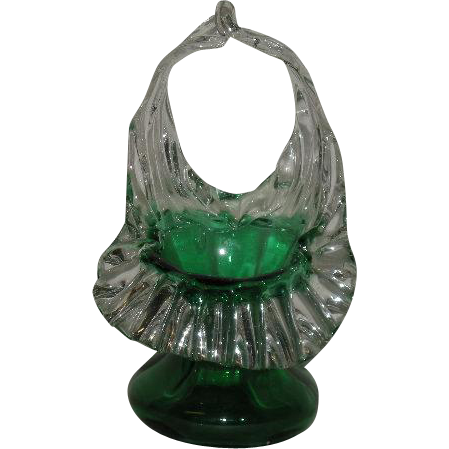Small, Green, Jack-N-Pulpit, Art Glass Basket