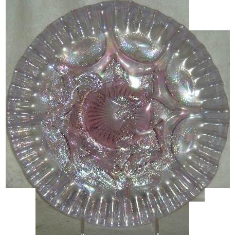 Fenton, Singleton Bailey, Iridized Pink Opalescent Farmyard Chop Plate