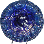 Fenton, Singleton Bailey, Iridescent Cobalt Blue, Farmyard Chop Plate