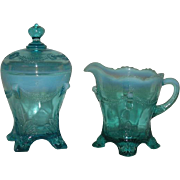 Jefferson Glass Co., Blue Opalescent, Swag and Brackets, Sugar and Creamer