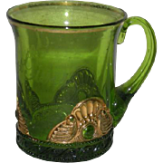 U.S. Glass Co., Green w/Gold Trim, Lacy Medallion Mug