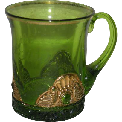 U.S. Glass Co., Green w/Gold Trim, Lacy Medallion Mug
