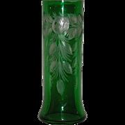 Bohemian, Green Cut to Clear, Vase