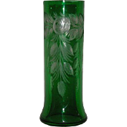 Bohemian, Green Cut to Clear, Vase
