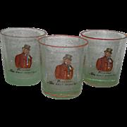 Three, Hand Painted, Czechoslovakian, Whiskey Glasses