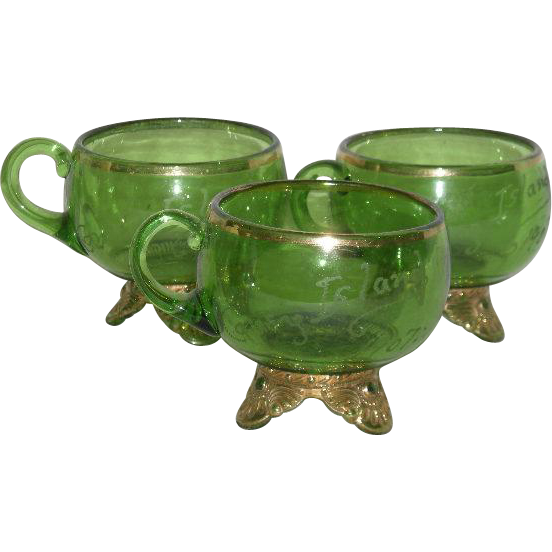 Set of Three, U.S. Glass Co., Green W/Gold Trim, Lacy Medallion Souviener Cups