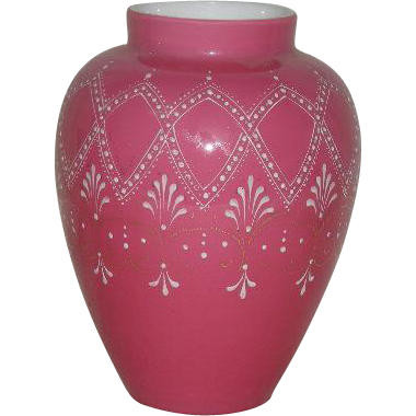 Victorian Art Glass, Enamel and Gold Decorated, Pink and White Cased Glass Vase