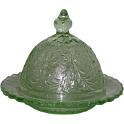 Tiara, Chantilly Green, Sandwich Pattern Butter Dish