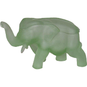 Tiara, Satin Green, Covered Elephant Candy Dish