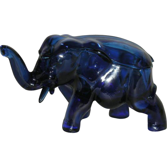 Cobalt Blue, Tiara, Covered Elephant Candy Dish