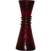 Red, Blenko Art Glass, Crackle Glass Vase W/Applied Yellow Snake Decoration