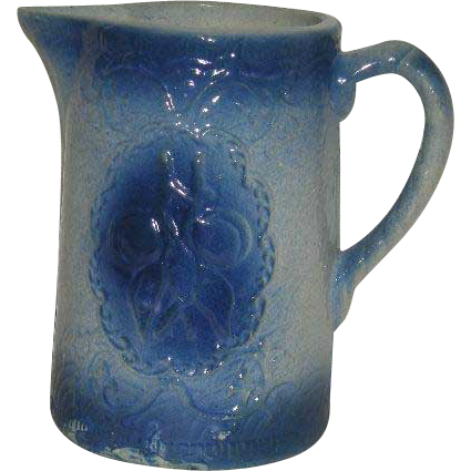 Blue, Salt Glazed, Apricot Pattern, Pottery Pitcher