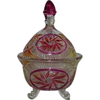 Flashed, Multi-Colored, Whirling Star Covered Candy Dish