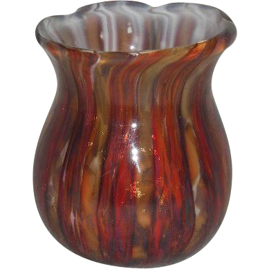 Hand Blown, Multi-Colored, Art Glass Toothpick Holder
